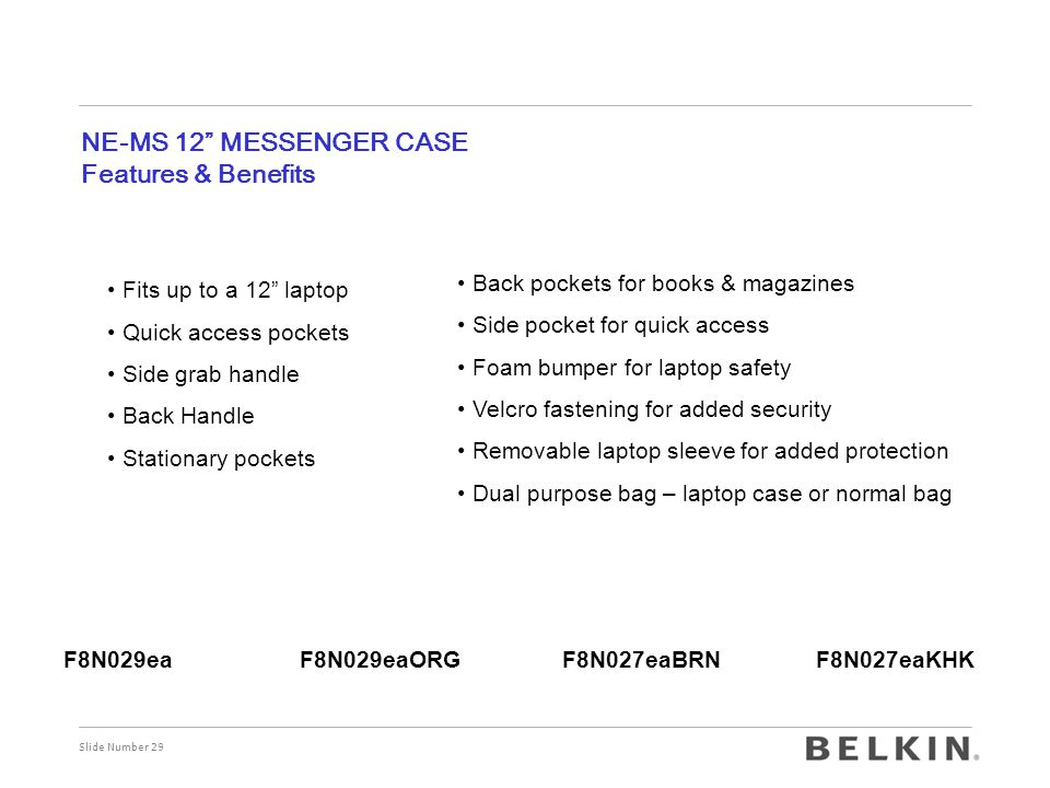 NE-MS 12 MESSENGER CASE Features & Benefits