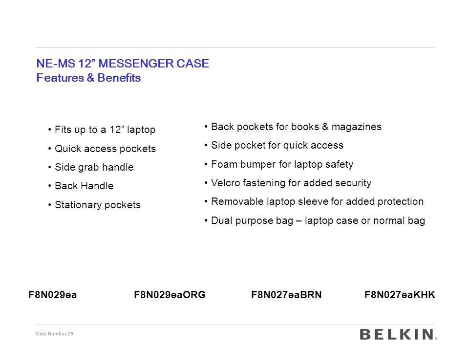 NE-MS 12 MESSENGER CASE Features & Benefits