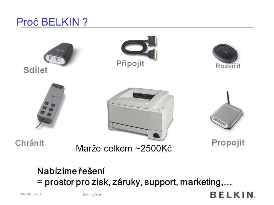 Proč BELKIN Marže na tiskárně ~250Kč Marže celkem ~2500Kč