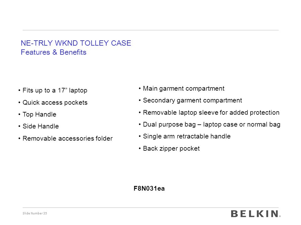 NE-TRLY WKND TOLLEY CASE Features & Benefits
