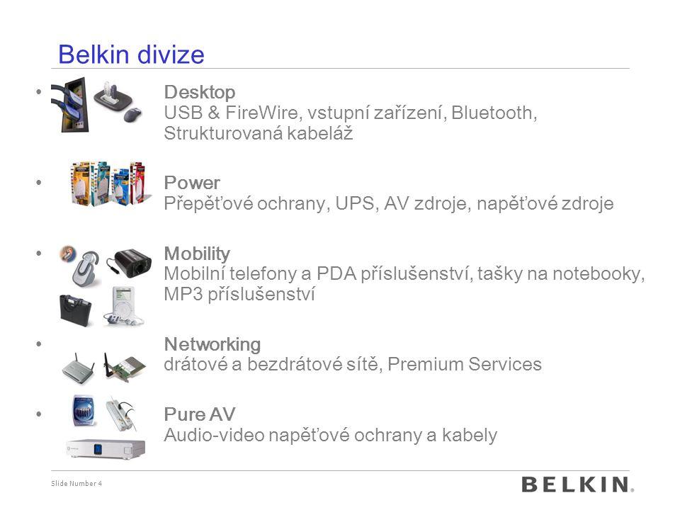 Belkin divize Desktop USB & FireWire, vstupní zařízení, Bluetooth, Strukturovaná kabeláž. Power Přepěťové ochrany, UPS, AV zdroje, napěťové zdroje.