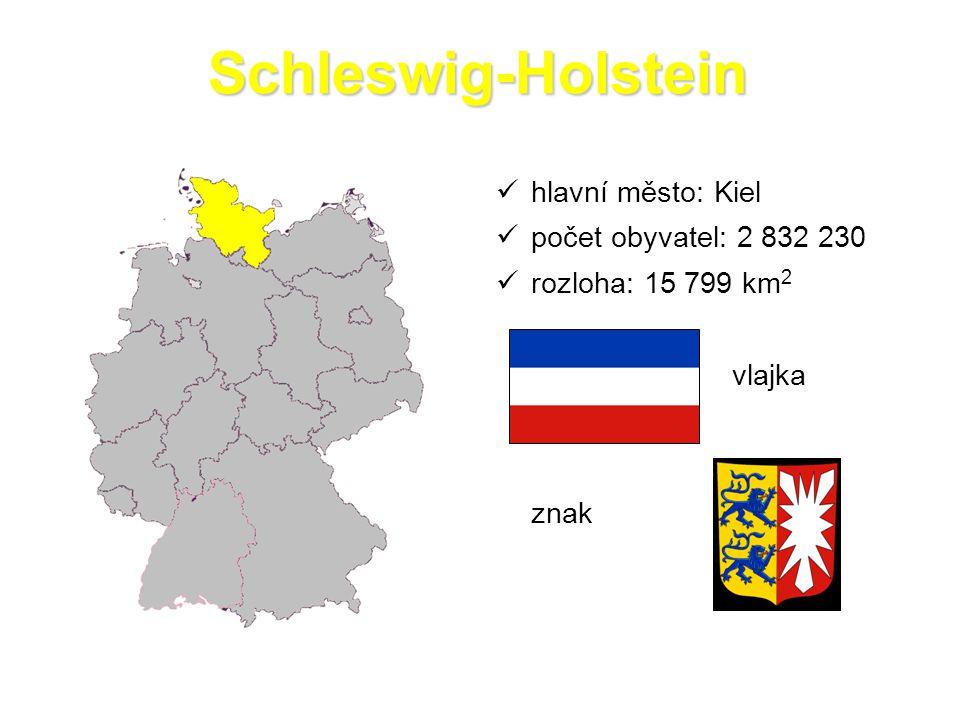 Schleswig-Holstein hlavní město: Kiel počet obyvatel: 2 832 230