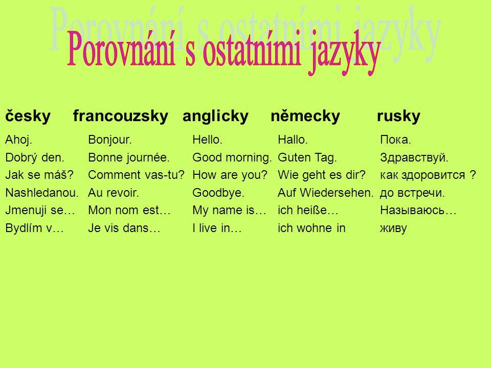 Porovnání s ostatními jazyky