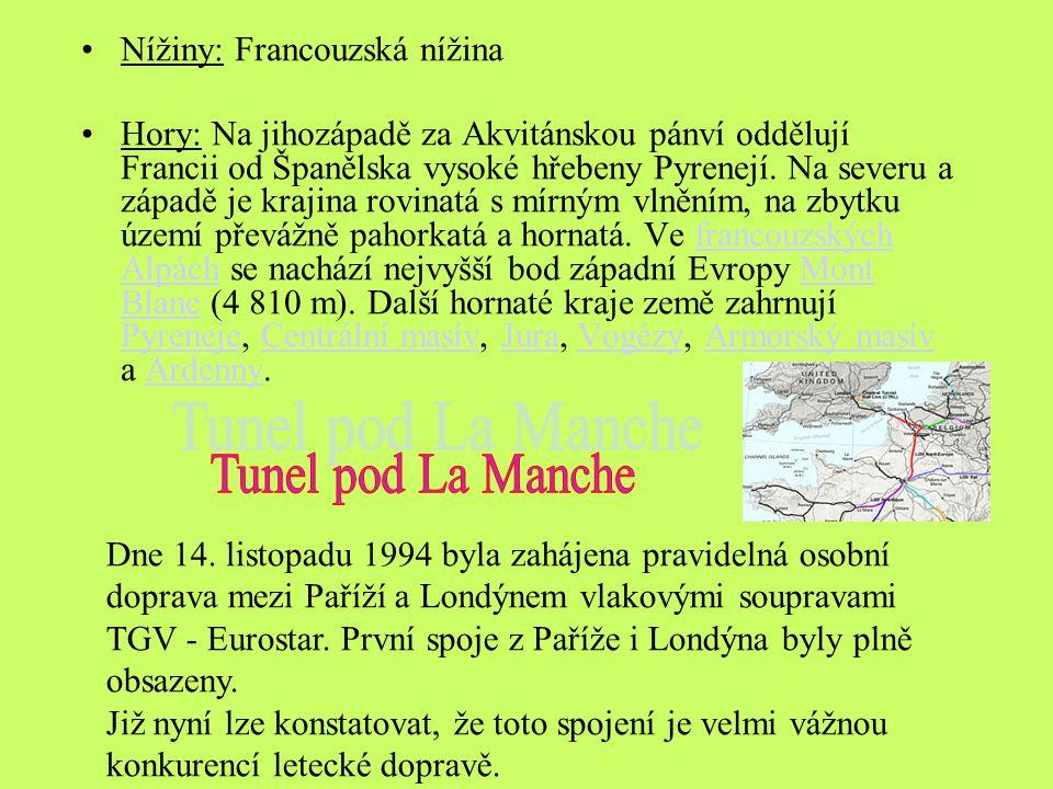 Tunel pod La Manche Nížiny: Francouzská nížina