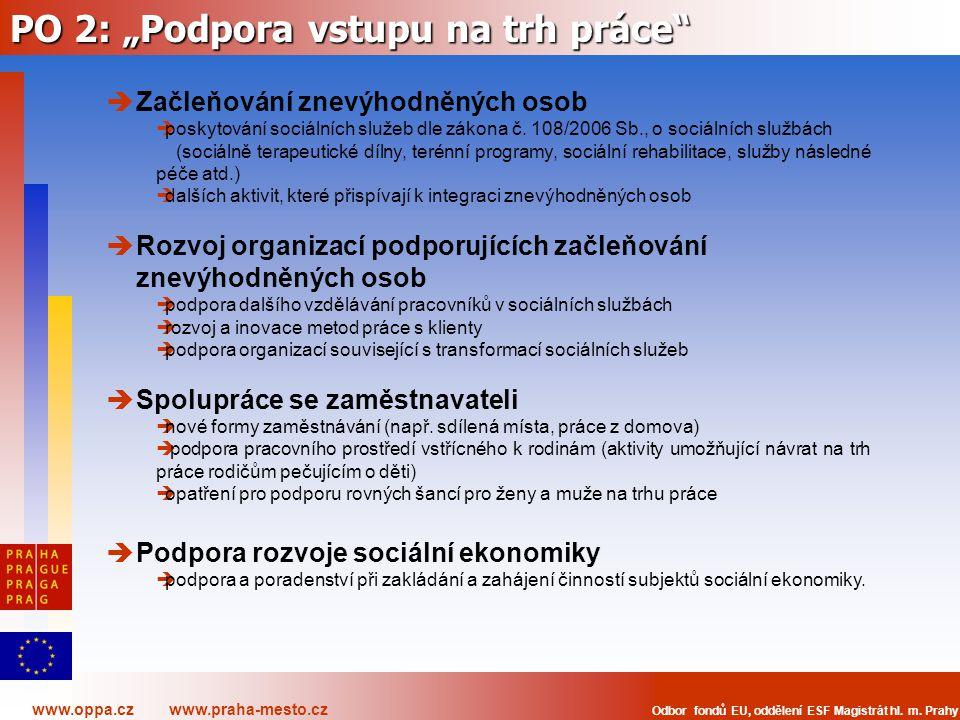 """PO 2: """"Podpora vstupu na trh práce"""