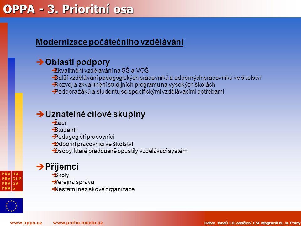 OPPA - 3. Prioritní osa Modernizace počátečního vzdělávání