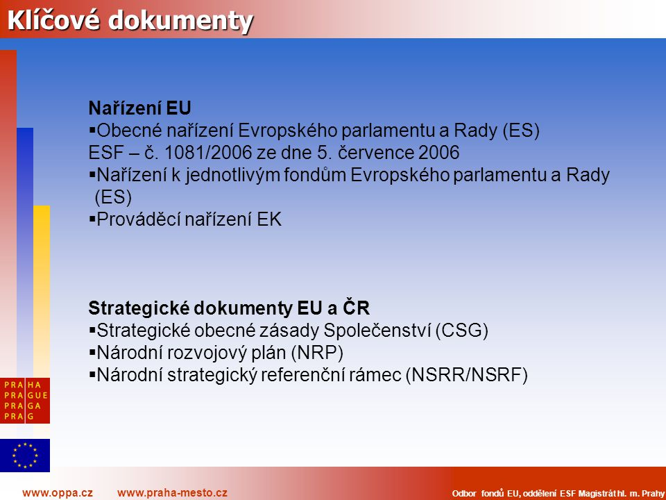 Klíčové dokumenty Nařízení EU