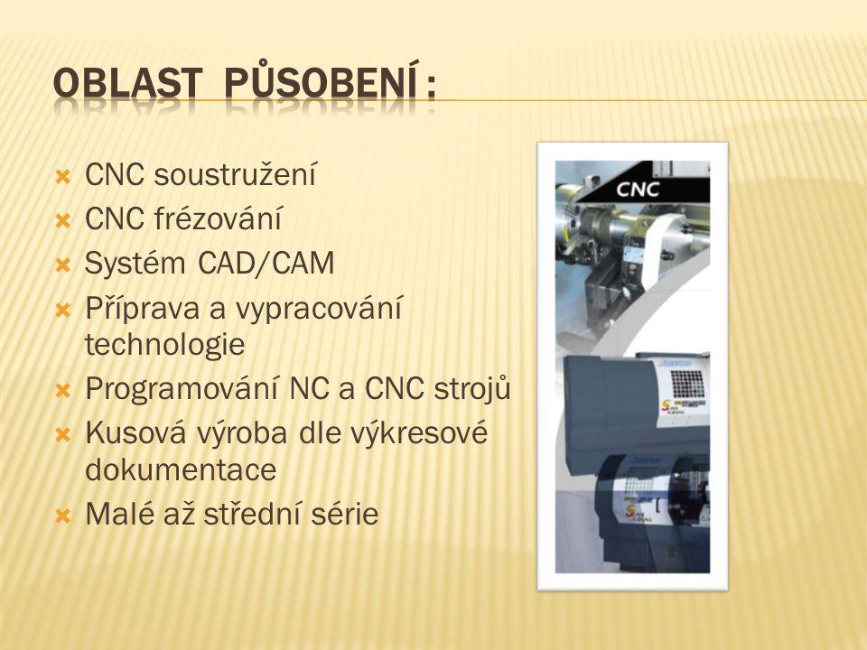 Oblast působení : CNC soustružení CNC frézování Systém CAD/CAM