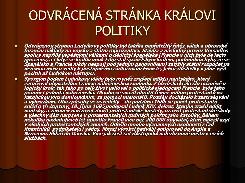 ODVRÁCENÁ STRÁNKA KRÁLOVI POLITIKY