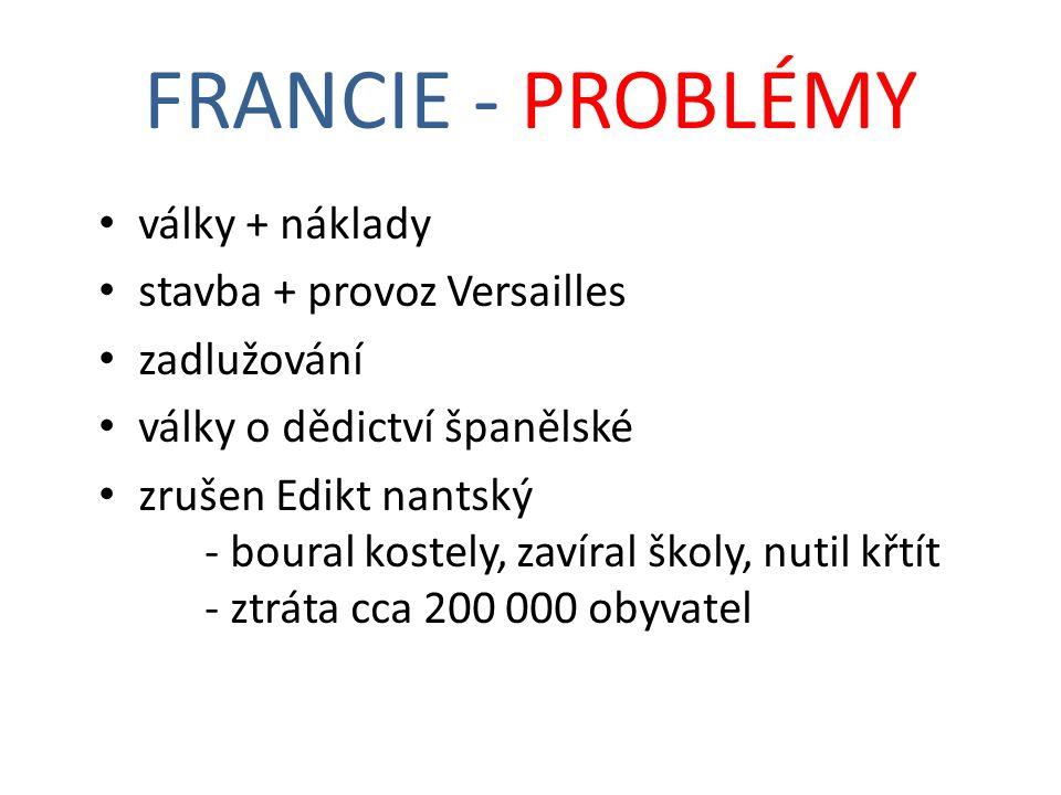 FRANCIE - PROBLÉMY války + náklady stavba + provoz Versailles
