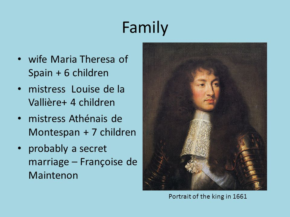 Family wife Maria Theresa of Spain + 6 children