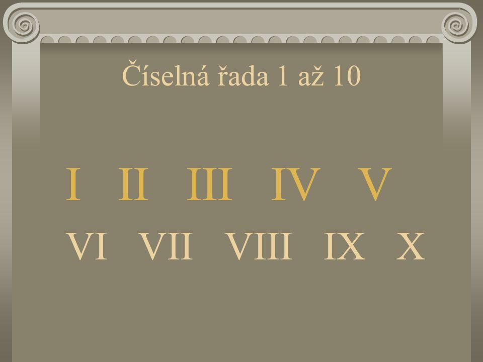 Číselná řada 1 až 10 I II III IV V VI VII VIII IX X