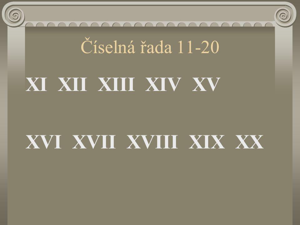 Číselná řada 11-20 XI XII XIII XIV XV XVI XVII XVIII XIX XX