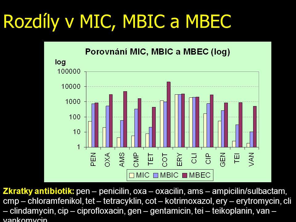 Rozdíly v MIC, MBIC a MBEC