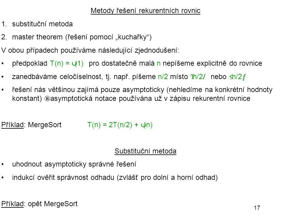 Metody řešení rekurentních rovnic