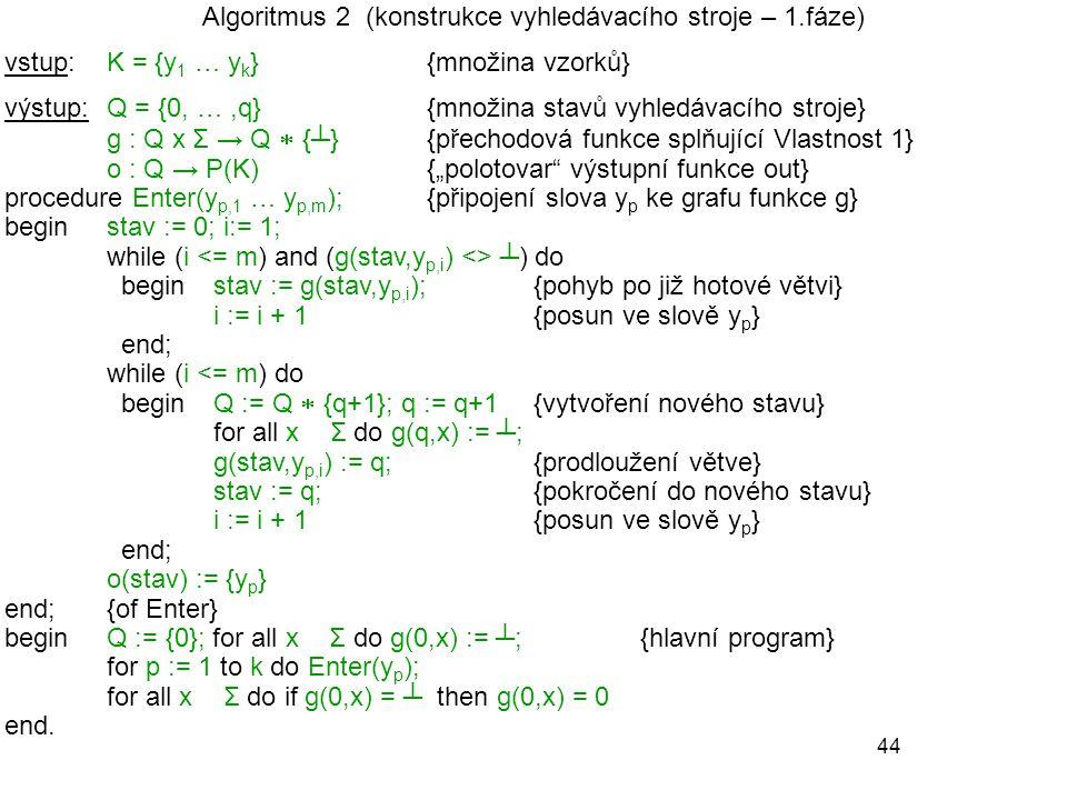Algoritmus 2 (konstrukce vyhledávacího stroje – 1.fáze)