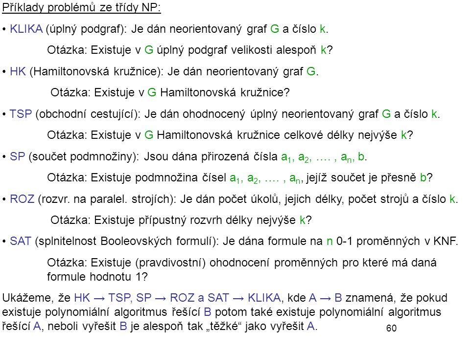 Příklady problémů ze třídy NP: