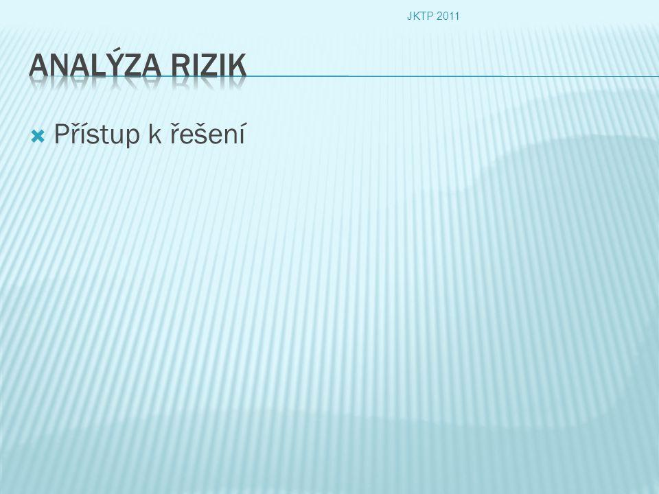 JKTP 2011 Analýza rizik Přístup k řešení