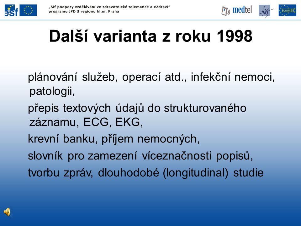 Další varianta z roku 1998 plánování služeb, operací atd., infekční nemoci, patologii, přepis textových údajů do strukturovaného záznamu, ECG, EKG,