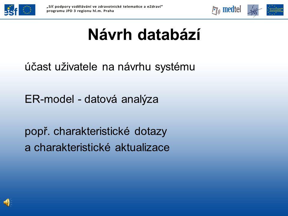Návrh databází účast uživatele na návrhu systému