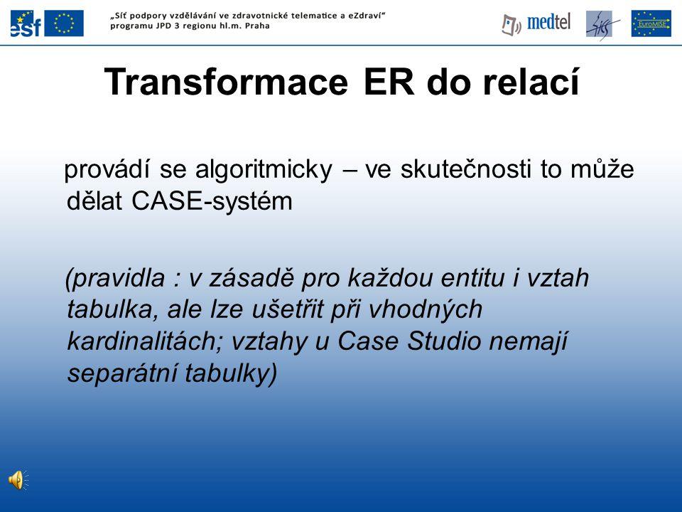 Transformace ER do relací
