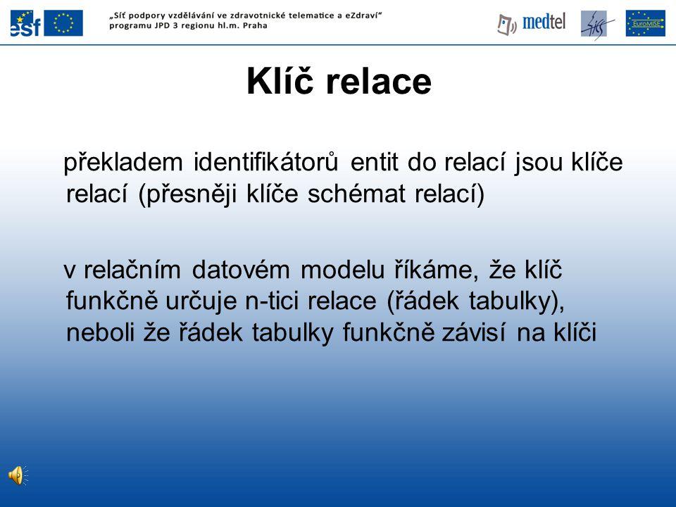 05/04/2017 Klíč relace. překladem identifikátorů entit do relací jsou klíče relací (přesněji klíče schémat relací)