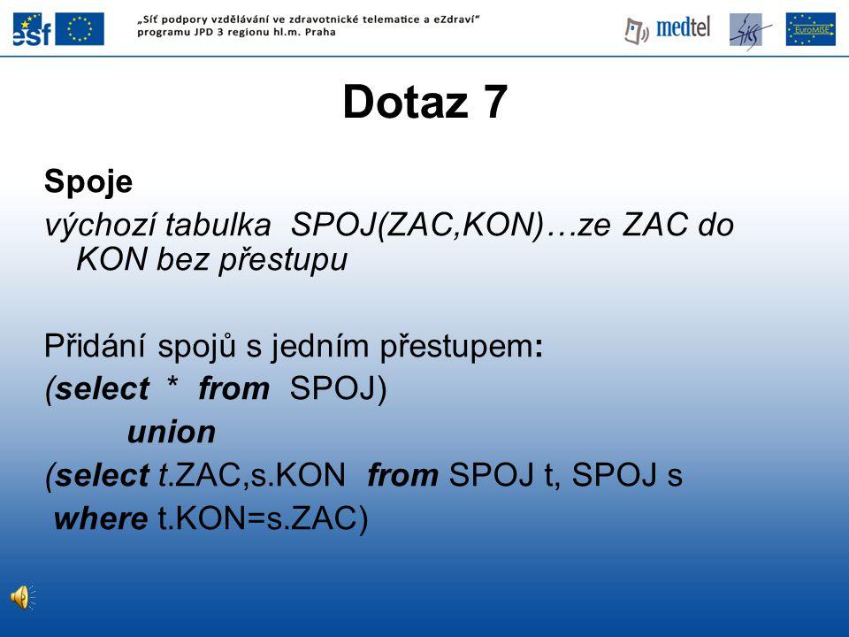Dotaz 7 Spoje výchozí tabulka SPOJ(ZAC,KON)…ze ZAC do KON bez přestupu