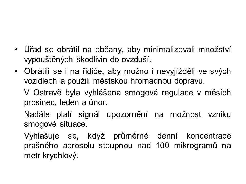 Úřad se obrátil na občany, aby minimalizovali množství vypouštěných škodlivin do ovzduší.