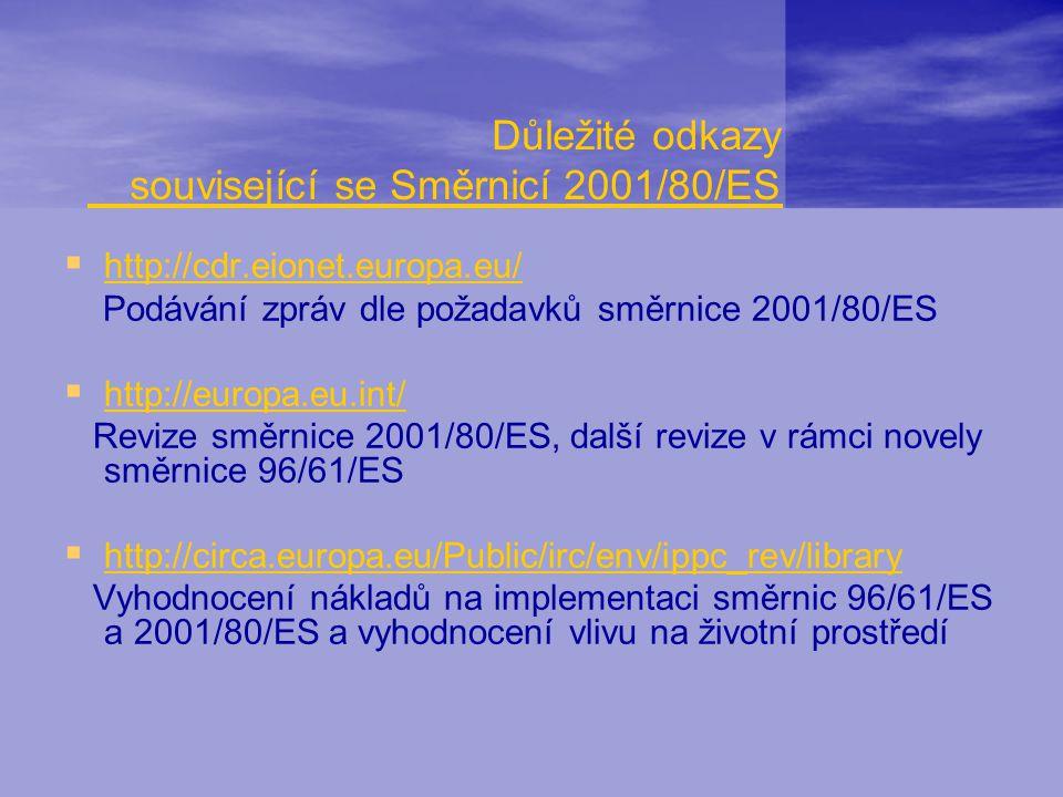 Důležité odkazy související se Směrnicí 2001/80/ES