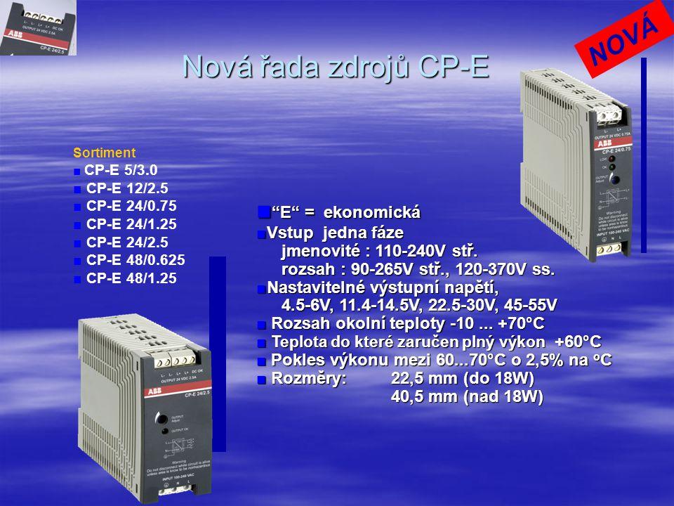 Nová řada zdrojů CP-E NOVÁ ■ E = ekonomická ■Vstup jedna fáze