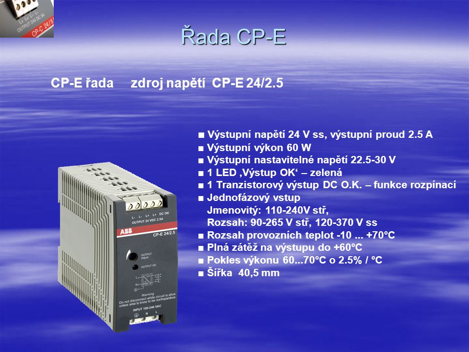 Řada CP-E CP-E řada zdroj napětí CP-E 24/2.5