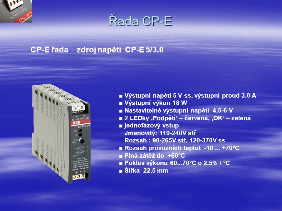 Řada CP-E CP-E řada zdroj napětí CP-E 5/3.0