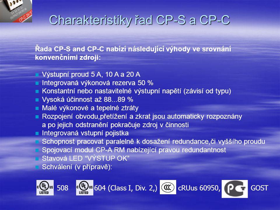 Charakteristiky řad CP-S a CP-C