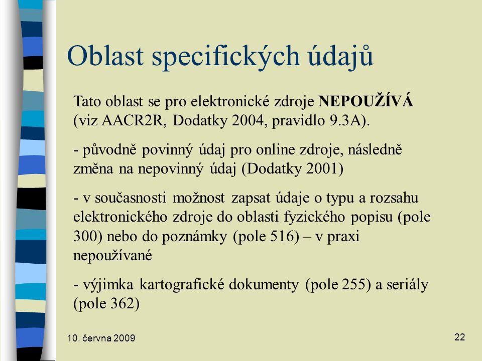 Oblast specifických údajů