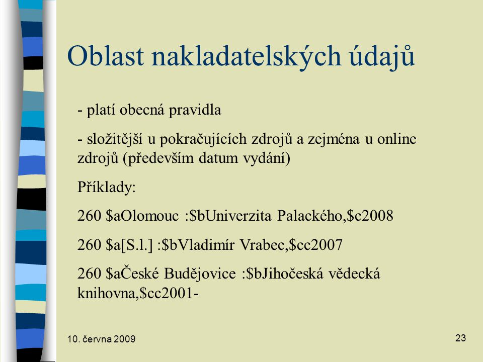 Oblast nakladatelských údajů