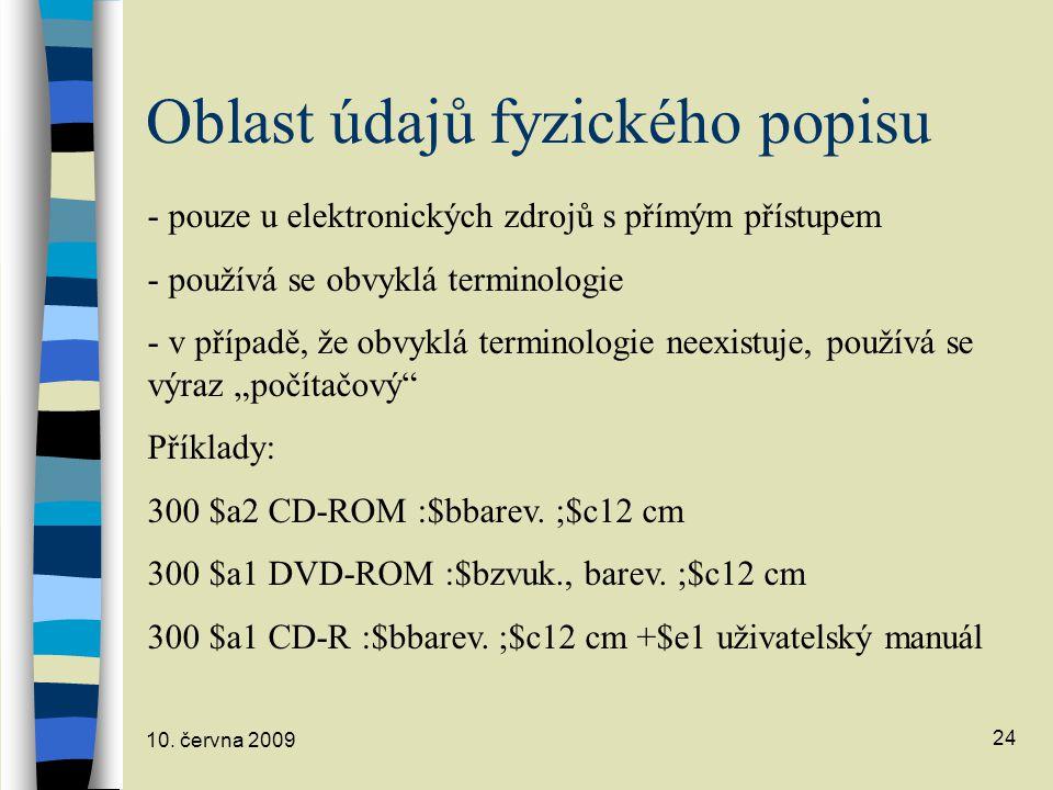 Oblast údajů fyzického popisu