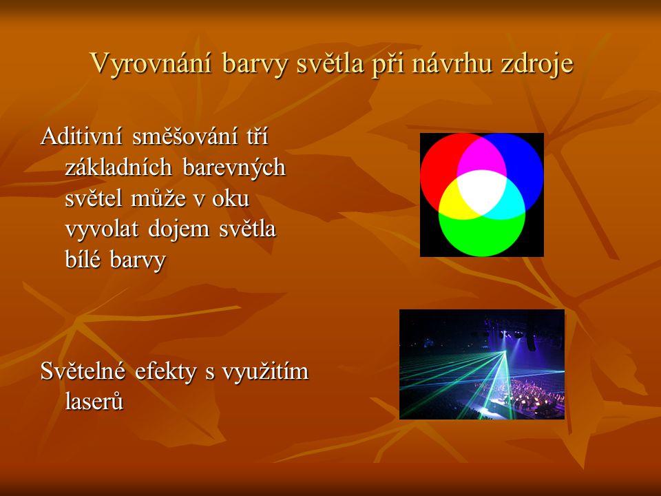 Vyrovnání barvy světla při návrhu zdroje