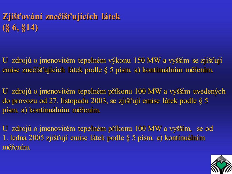 Zjišťování znečišťujících látek (§ 6, §14) U zdrojů o jmenovitém tepelném výkonu 150 MW a vyšším se zjišťují emise znečišťujících látek podle § 5 písm.