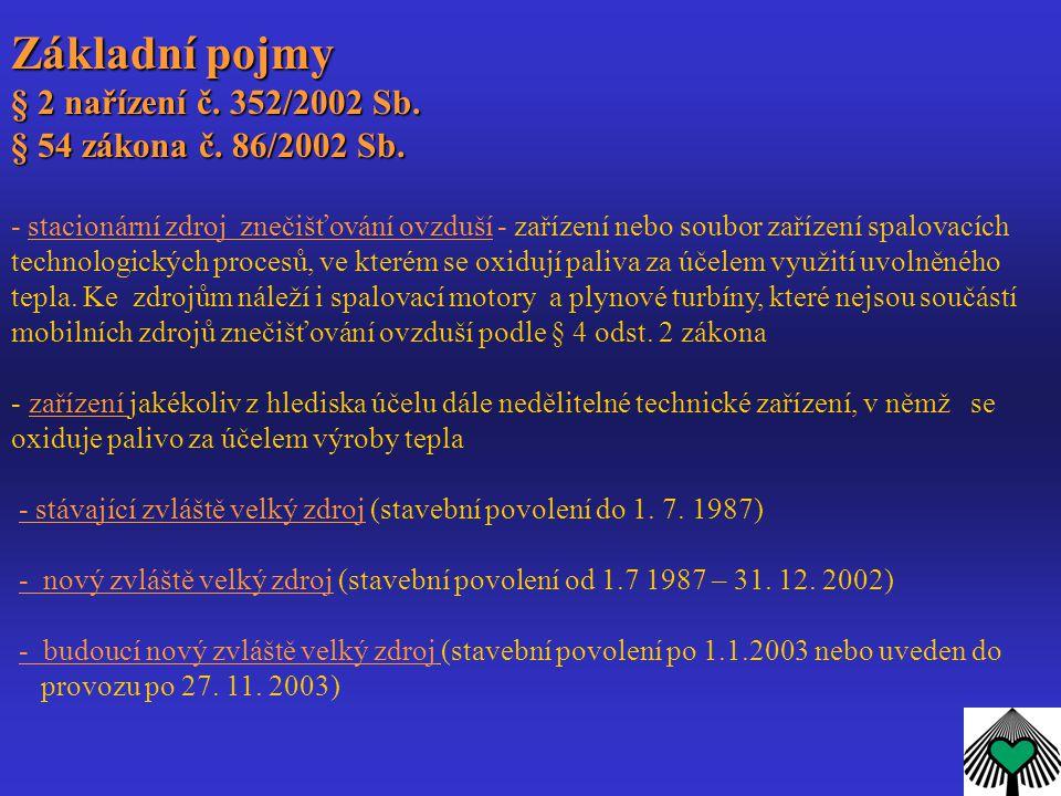 Základní pojmy § 2 nařízení č. 352/2002 Sb. § 54 zákona č. 86/2002 Sb.