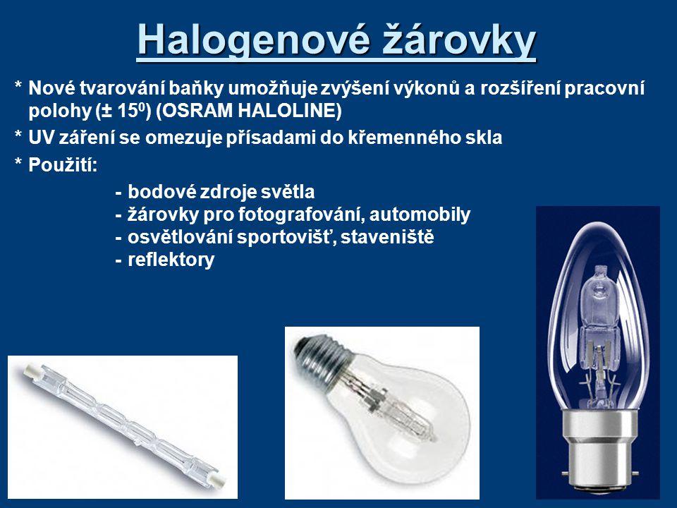 Halogenové žárovky * Nové tvarování baňky umožňuje zvýšení výkonů a rozšíření pracovní polohy (± 150) (OSRAM HALOLINE)