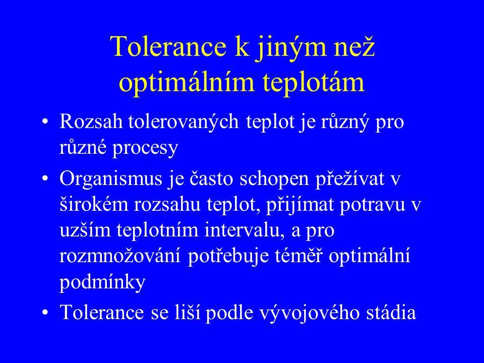 Tolerance k jiným než optimálním teplotám