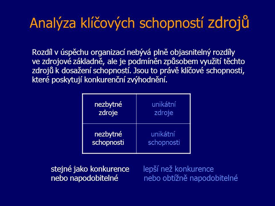 Analýza klíčových schopností zdrojů