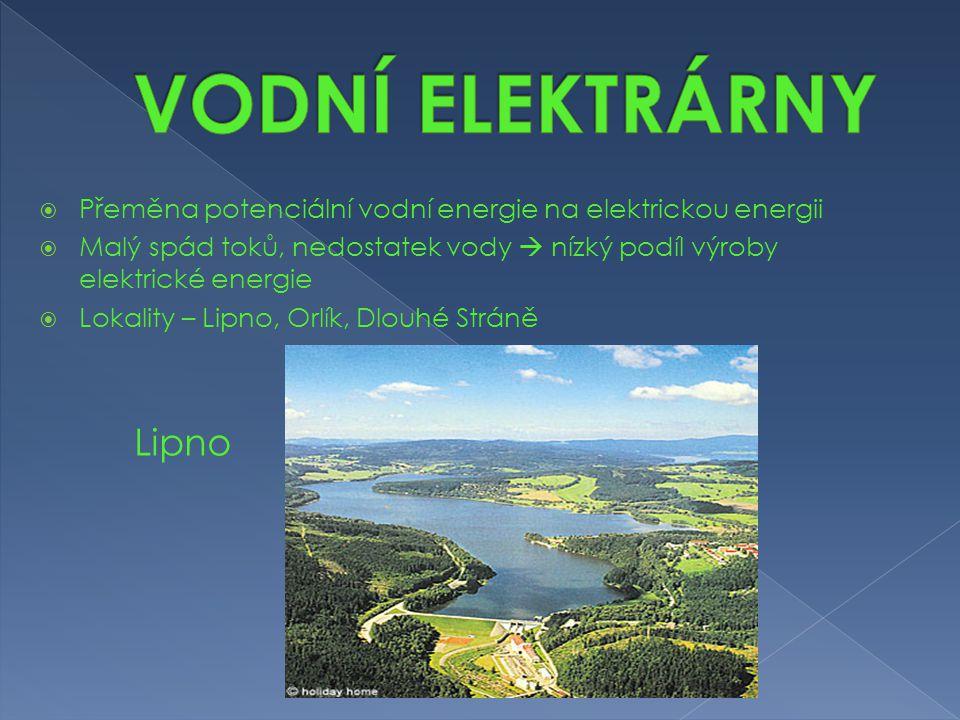 VODNÍ ELEKTRÁRNY Přeměna potenciální vodní energie na elektrickou energii. Malý spád toků, nedostatek vody  nízký podíl výroby elektrické energie.
