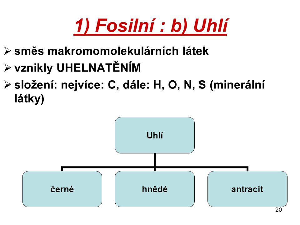 1) Fosilní : b) Uhlí směs makromomolekulárních látek