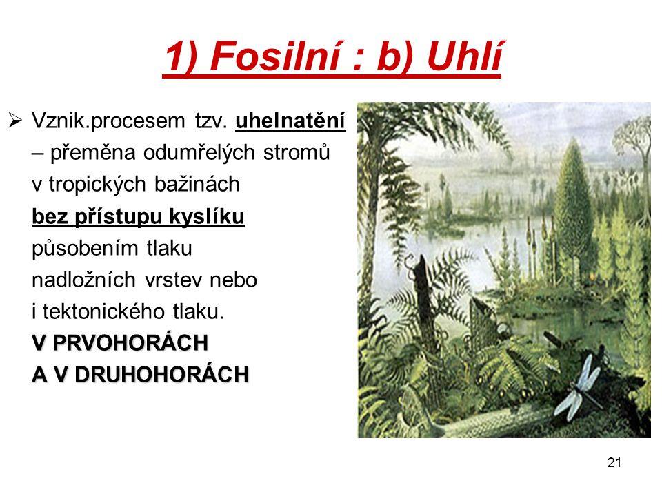 1) Fosilní : b) Uhlí Vznik.procesem tzv. uhelnatění