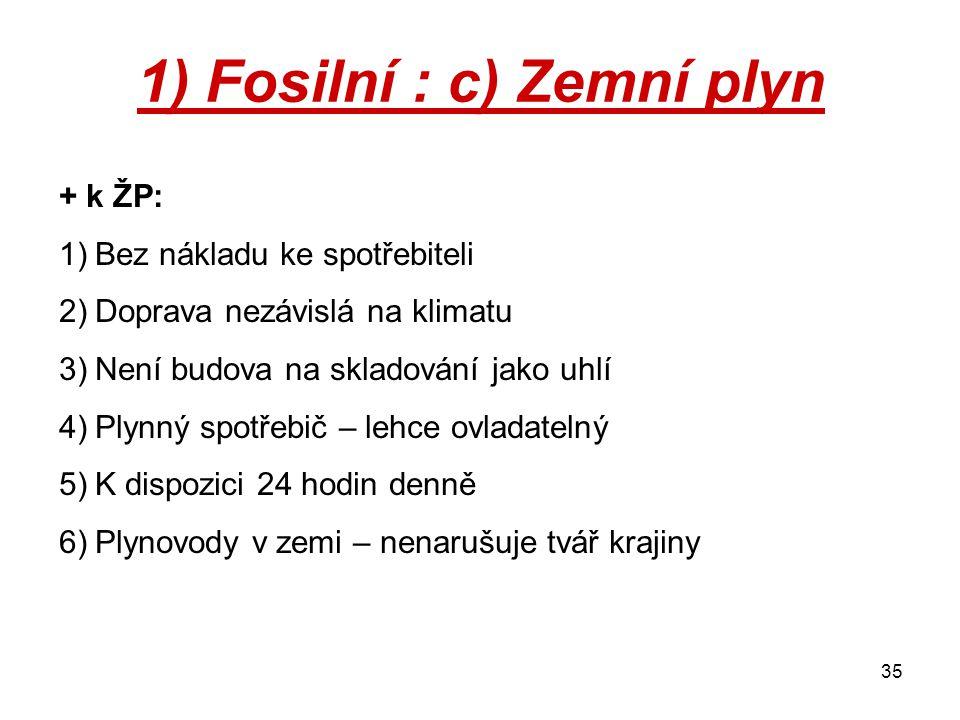 1) Fosilní : c) Zemní plyn