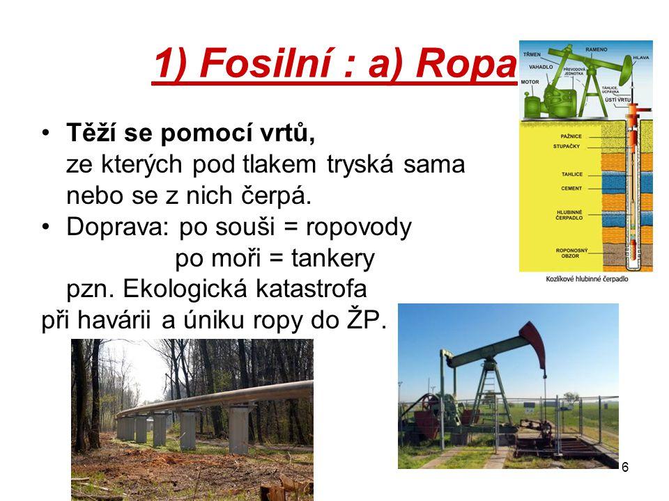 1) Fosilní : a) Ropa Těží se pomocí vrtů,