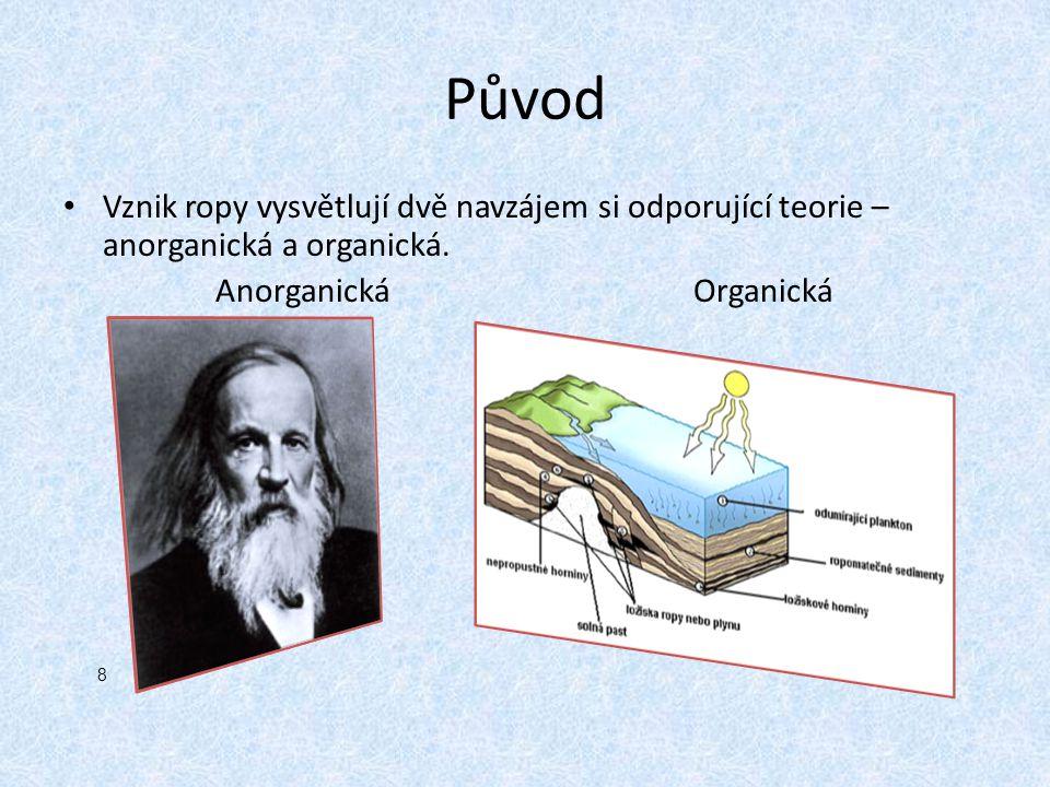 Původ Vznik ropy vysvětlují dvě navzájem si odporující teorie – anorganická a organická. Anorganická Organická.