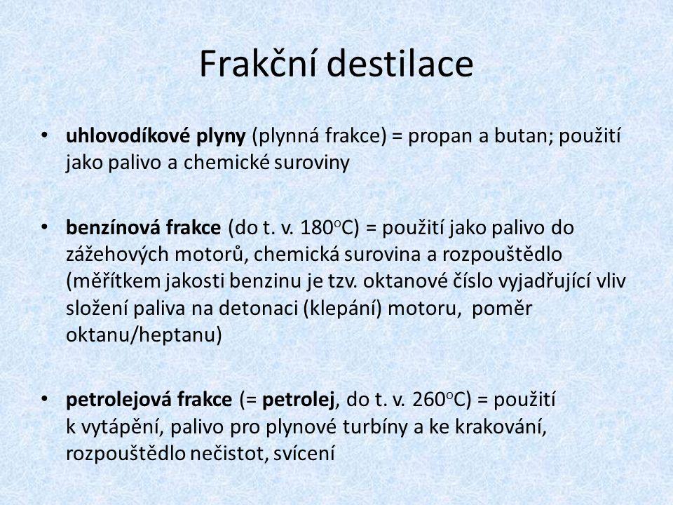 Frakční destilace uhlovodíkové plyny (plynná frakce) = propan a butan; použití jako palivo a chemické suroviny.