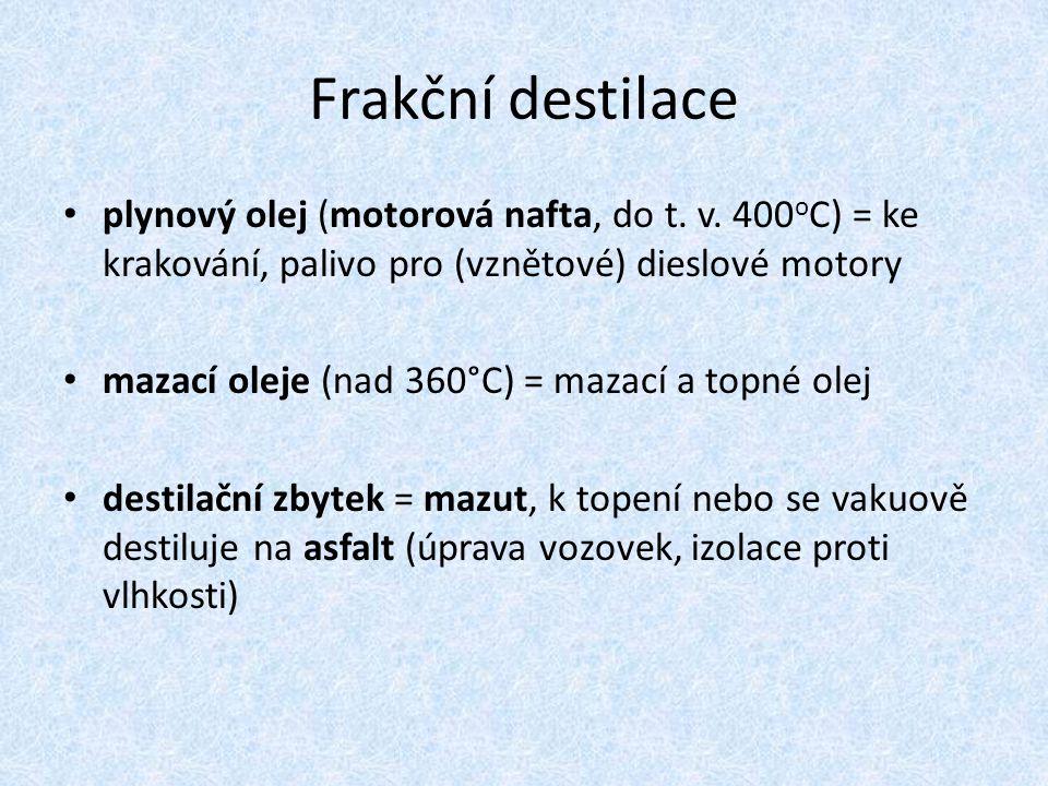 Frakční destilace plynový olej (motorová nafta, do t. v. 400oC) = ke krakování, palivo pro (vznětové) dieslové motory.